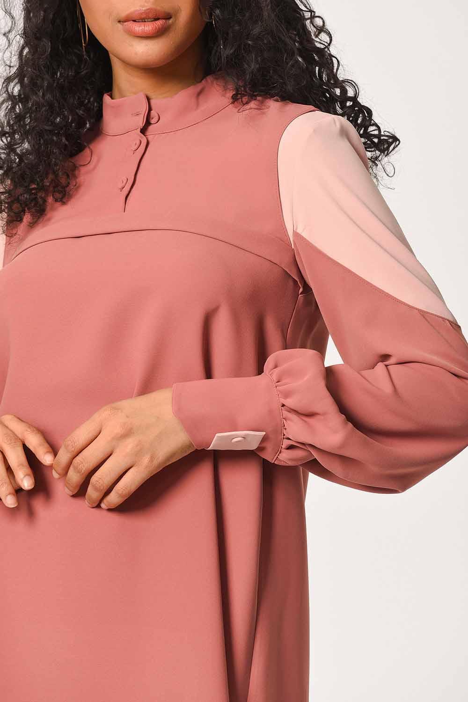 MIZALLE Kolları Parçalı Tunik Elbise (Gül Kurusu) (1)