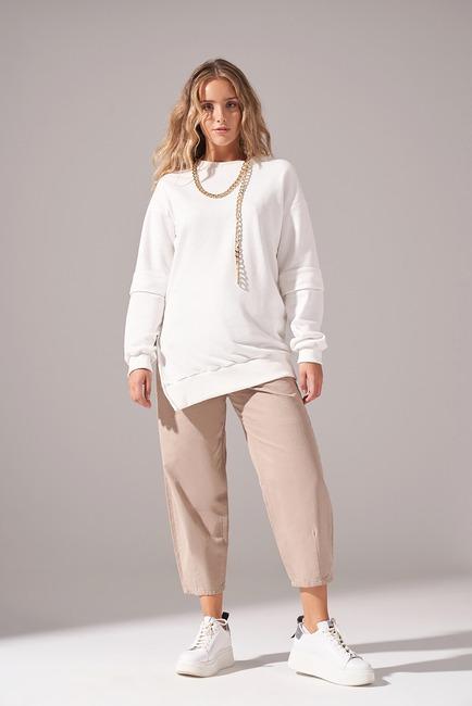 Mizalle - Kolları Parçalı Üç iplik Sweatshirt (Ekru)