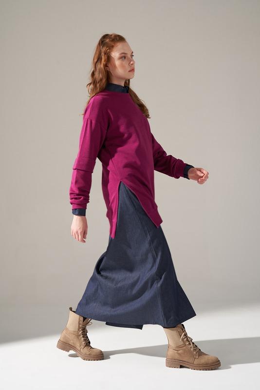 Kolları Parçalı Üç iplik Sweatshirt (Mürdüm)
