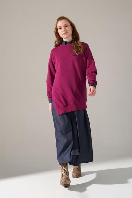 Kolları Parçalı Üç iplik Sweatshirt (Mürdüm) - Thumbnail