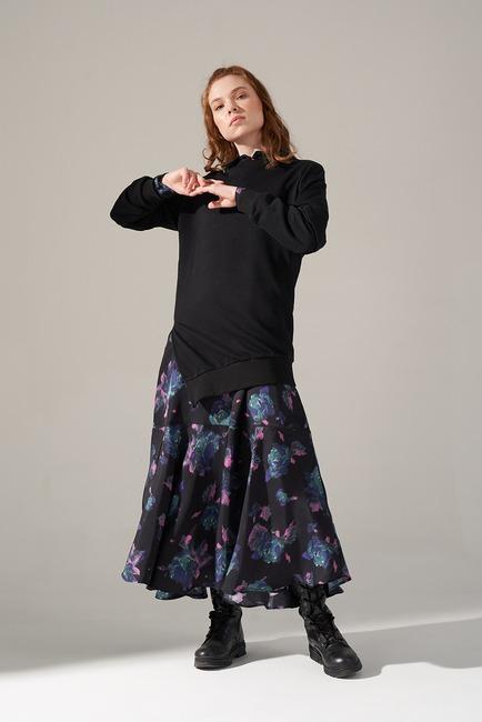 Mizalle - Kolları Parçalı Üç iplik Sweatshirt (Siyah)