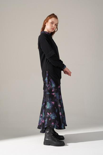 Kolları Parçalı Üç iplik Sweatshirt (Siyah) - Thumbnail