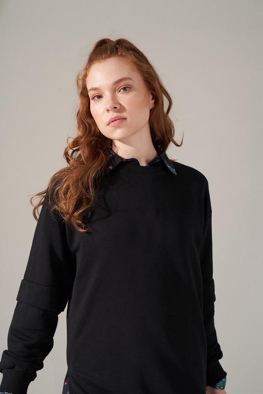 Kolları Parçalı Üç iplik Sweatshirt (Siyah)