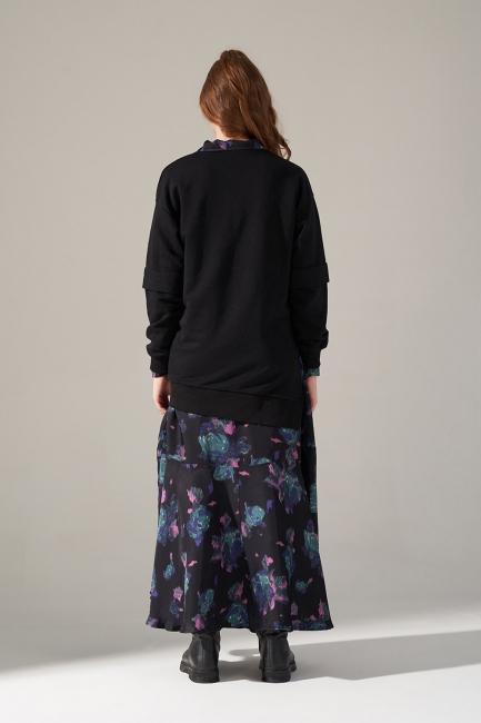 Yandan Yırtmaçlı Siyah Sweatshirt - Thumbnail