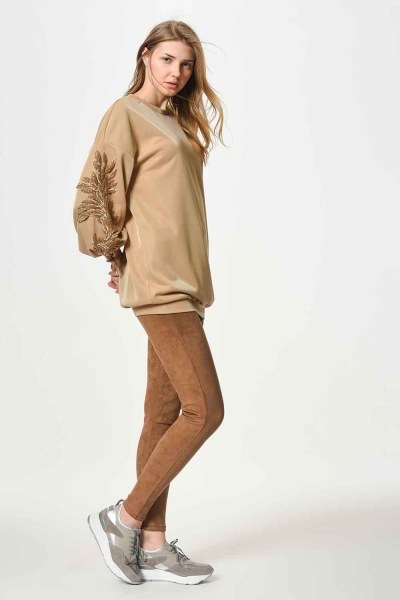 Sweatshirt With Sequin Detailed Sleeves (Gold) - Thumbnail