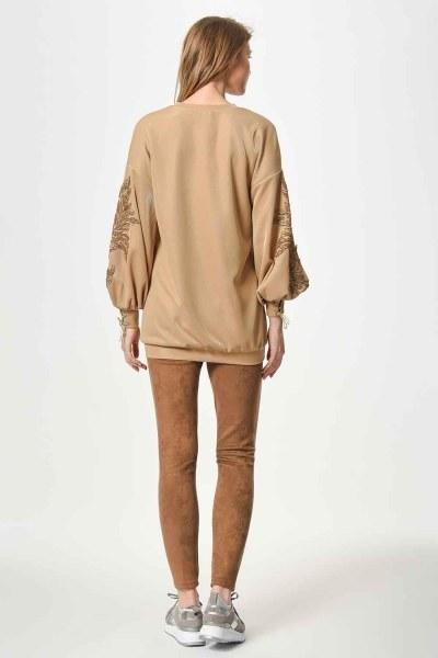 Kolları Payet İşleme Detaylı Sweatshirt (Gold) - Thumbnail