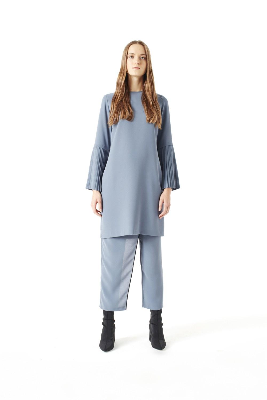 Kolları Piliseli Bluz (Indigo)