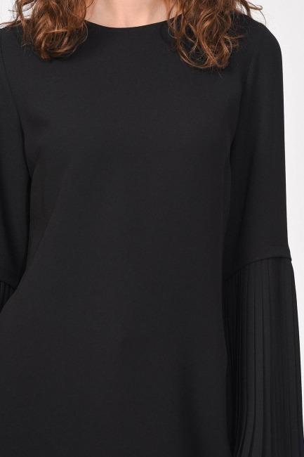 Kolları Piliseli Bluz (Siyah) - Thumbnail