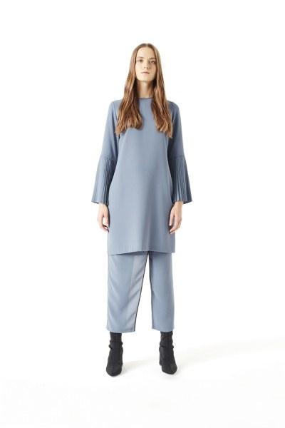 MIZALLE Kolları Pliseli Bluz (Indigo)