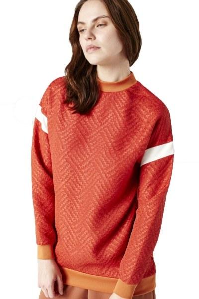 Kolları Şerit Detaylı Sweatshirt (Turuncu) - Thumbnail