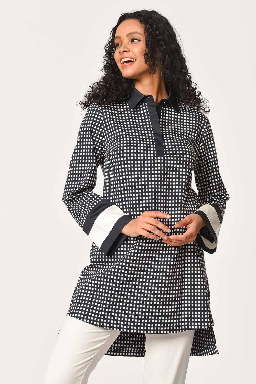 MIZALLE Kolları Şerit Detaylı Tunik Gömlek (Lacivert) (1)