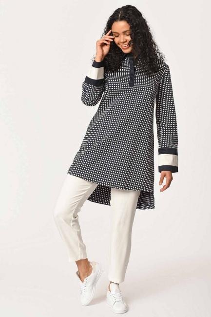 MIZALLE - Kolları Şerit Detaylı Tunik Gömlek (Lacivert) (1)