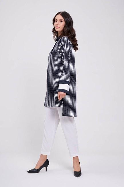 Mizalle - Kolları Şerit Detaylı Tunik Gömlek (Lacivert)