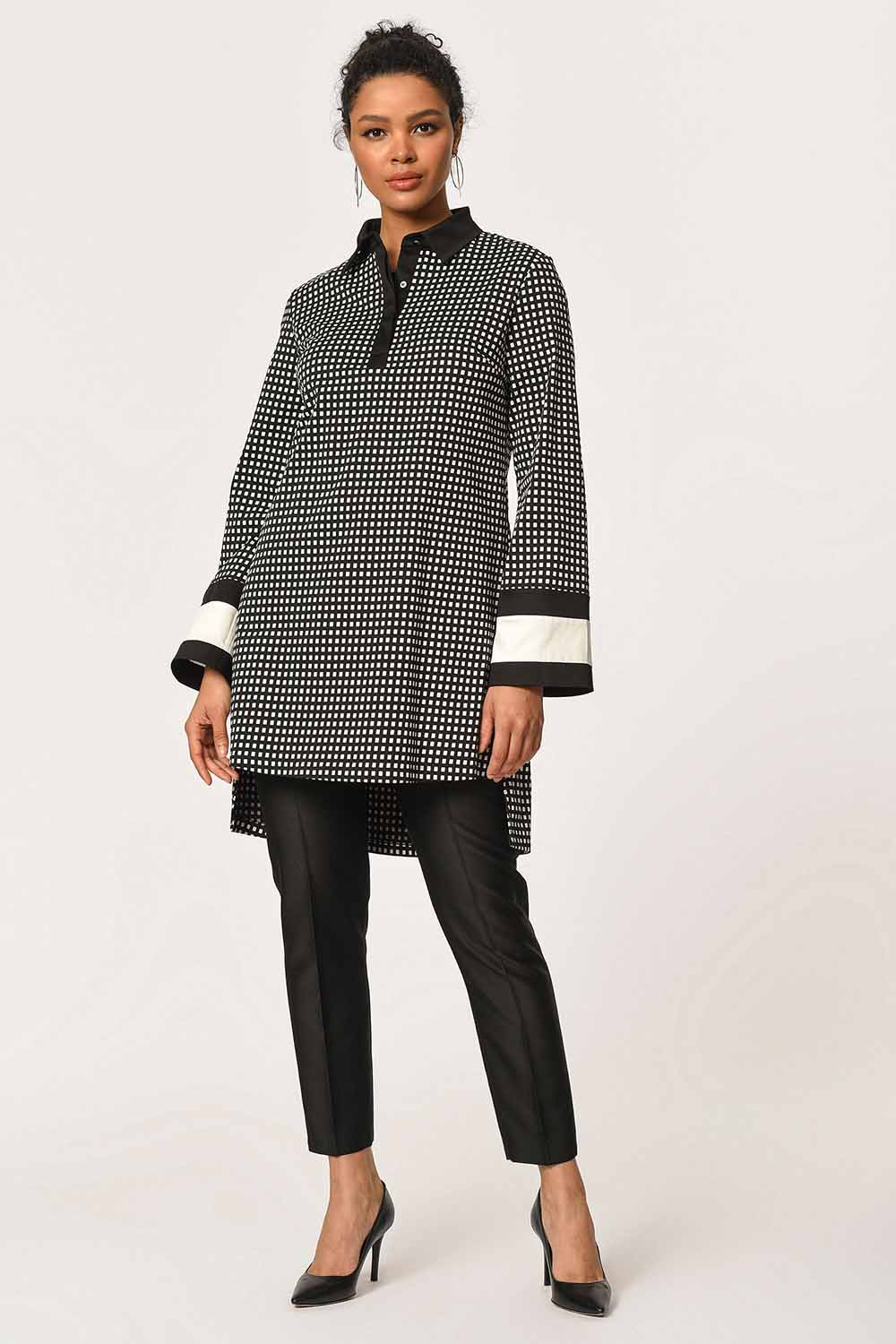 MIZALLE Stripe Detailed Tunic Shirt (Black) (1)
