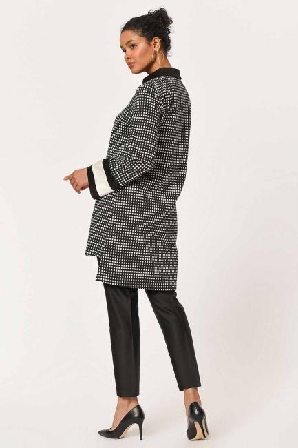 Stripe Detailed Tunic Shirt (Black) - Thumbnail