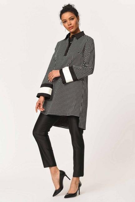 Kolları Şerit Detaylı Tunik Gömlek (Siyah) - Thumbnail