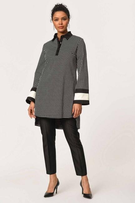 MIZALLE - Kolları Şerit Detaylı Tunik Gömlek (Siyah) (1)
