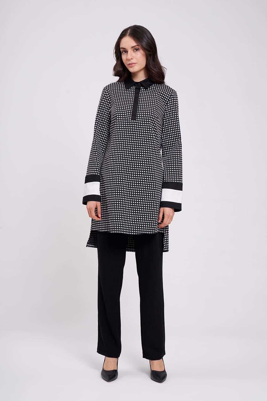 Şerit Detaylı Siyah Tunik Gömlek