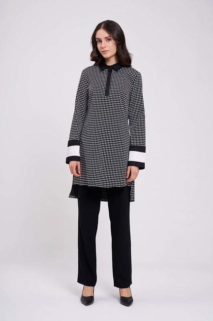 Mizalle - Kolları Şerit Detaylı Tunik Gömlek (Siyah)