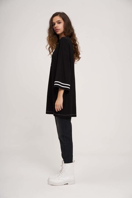 Kolları Şeritli Tunik (Siyah) - Thumbnail