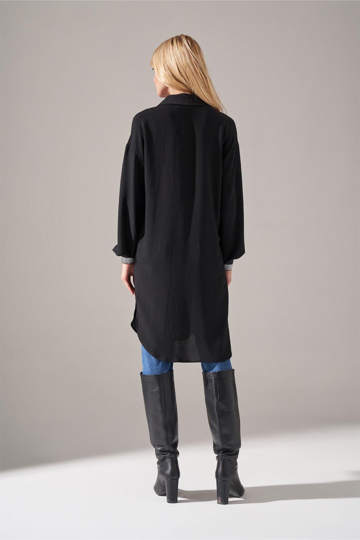 Kolları Sim Lastikli Siyah Tunik Gömlek