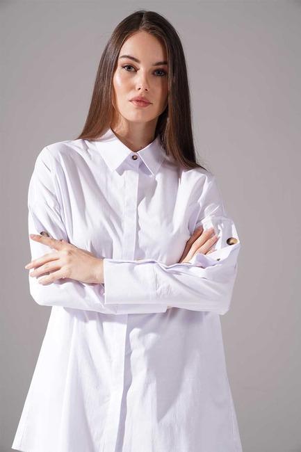 Mizalle - Kolları Süs Düğmeli Tunik (Beyaz)