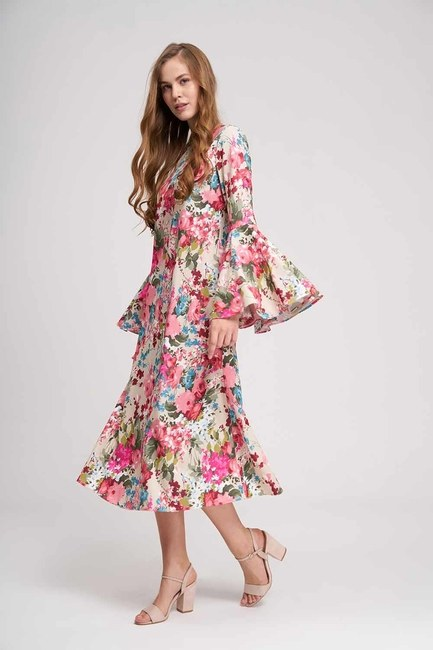 فستان زهري بأكمام مكشكشة (بيج) - Thumbnail