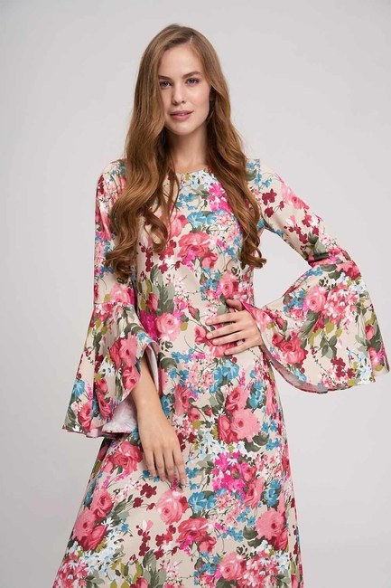 MIZALLE - فستان زهري بأكمام مكشكشة (بيج) (1)