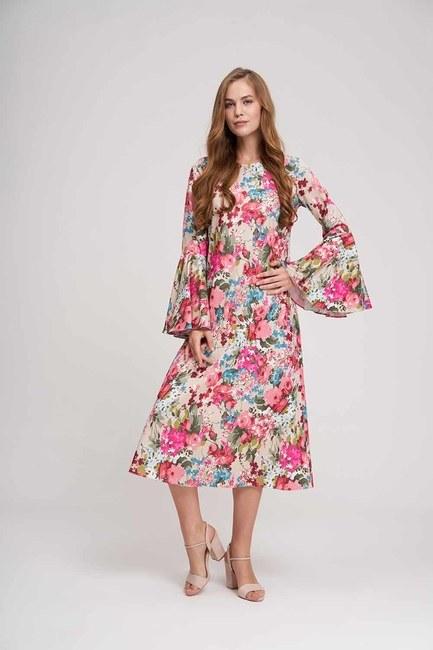 Kolları Volanlı Çiçekli Elbise (Bej) - Thumbnail