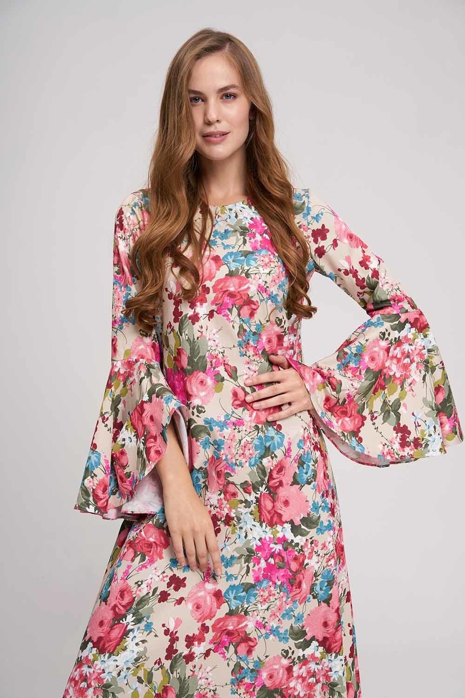 MIZALLE Kolları Volanlı Çiçekli Elbise (Bej) (1)