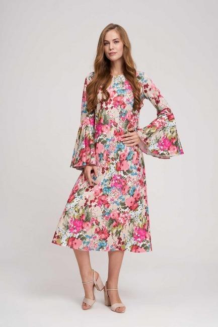Mizalle - Kolları Volanlı Çiçekli Elbise (Bej)