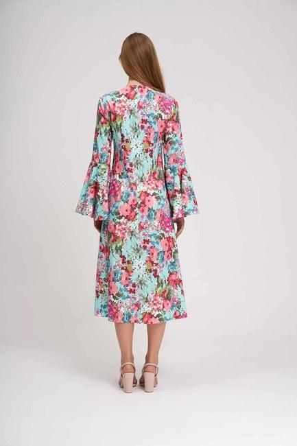 فستان زهري بأكمام مكشكشة (نعناع) - Thumbnail