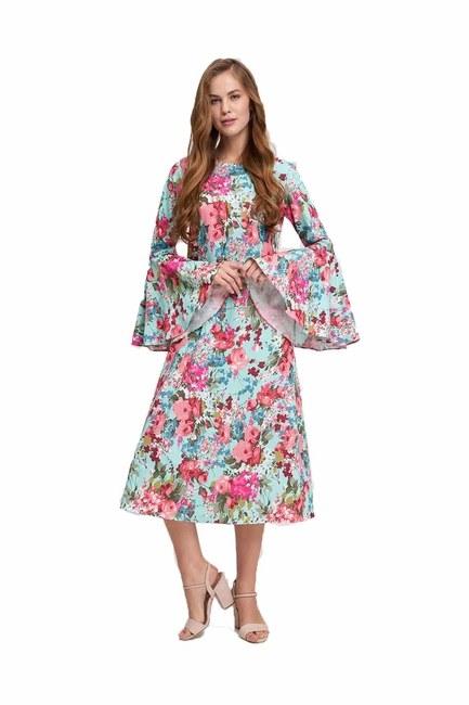 MIZALLE Kolları Volanlı Çiçekli Elbise (Mint)