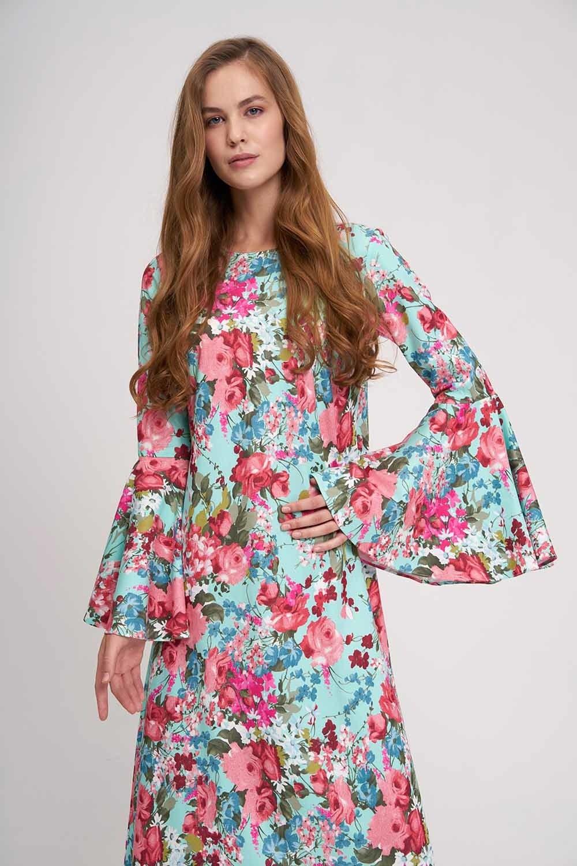 MIZALLE Kolları Volanlı Çiçekli Elbise (Mint) (1)