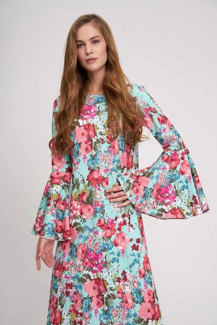 MIZALLE - Handles Flywheel Floral Dress (Mint) (1)