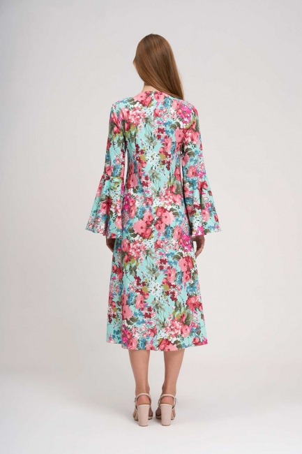 Kolları Volanlı Çiçekli Elbise (Mint) - Thumbnail