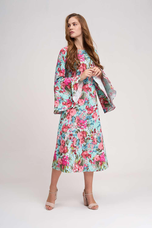 Kolları Volanlı Çiçekli Mint Elbise