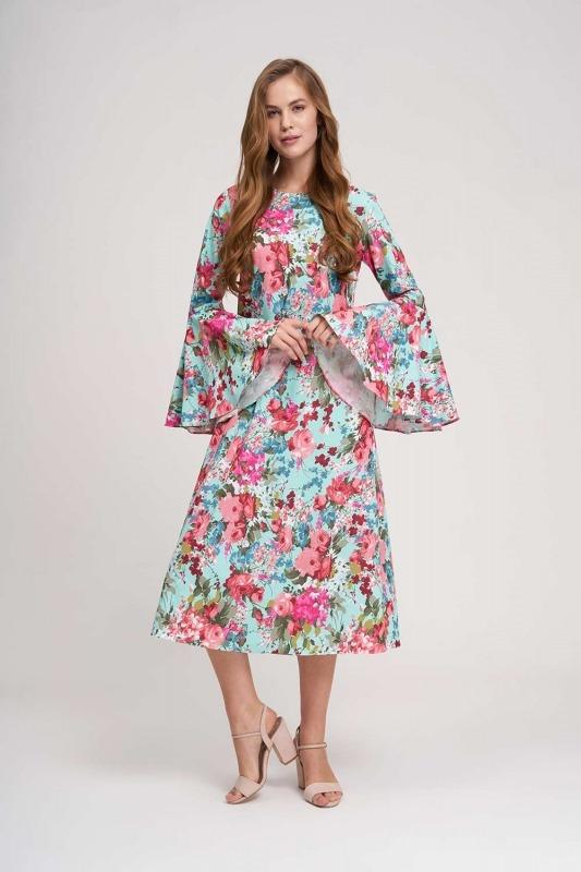 Kolları Volanlı Çiçekli Elbise (Mint)