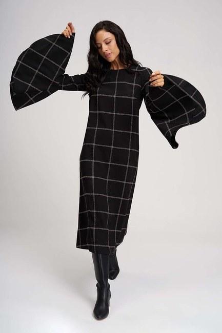 Kolları Volanlı Ekose Elbise (Siyah) - Thumbnail