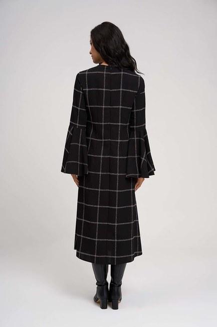فستان ذات اليد العريضة مع قماش المربعات (أسود) - Thumbnail