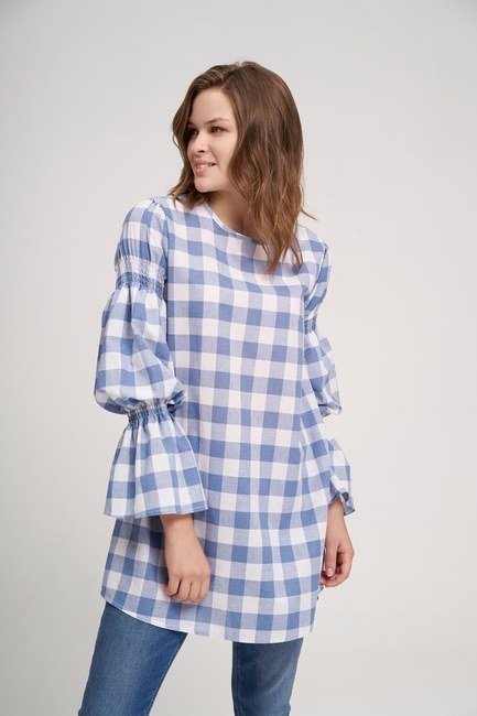 MIZALLE YOUTH - Handles Flywheel Plaid Tunic (Blue) (1)
