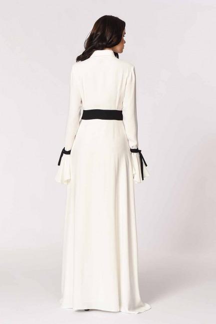 MIZALLE - Kolları Volanlı Tasarım Maxi Elbise (Siyah/Beyaz) (1)