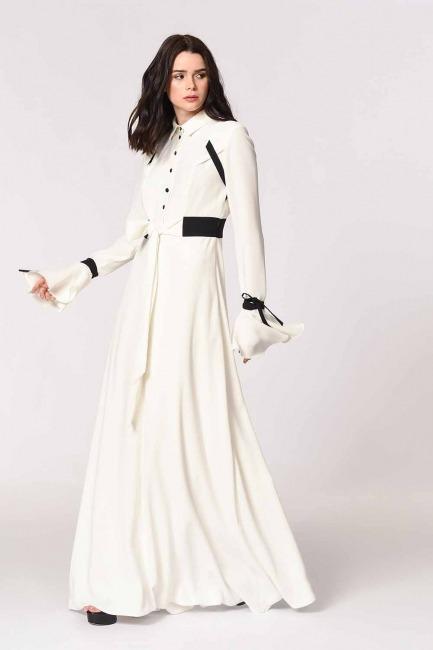 Kolları Volanlı Tasarım Maxi Elbise (Siyah/Beyaz) - Thumbnail