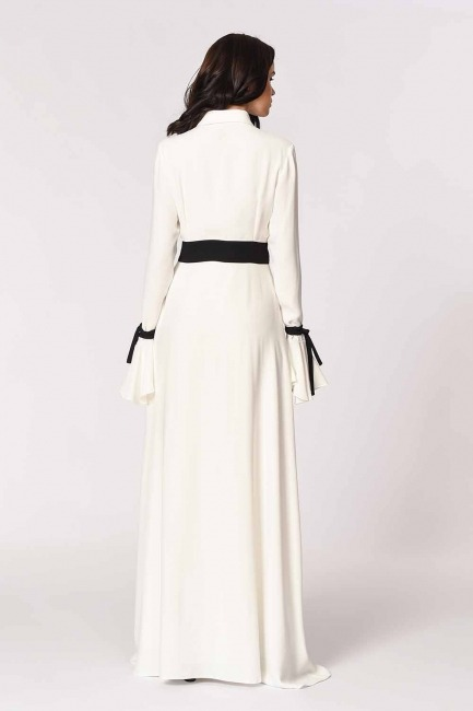 MIZALLE - Sleeve Flywheel Design Maxi Dress (Black/White) (1)