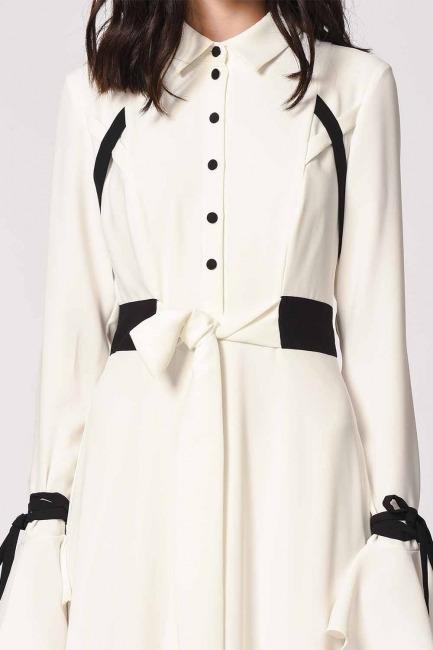 Sleeve Flywheel Design Maxi Dress (Black/White) - Thumbnail