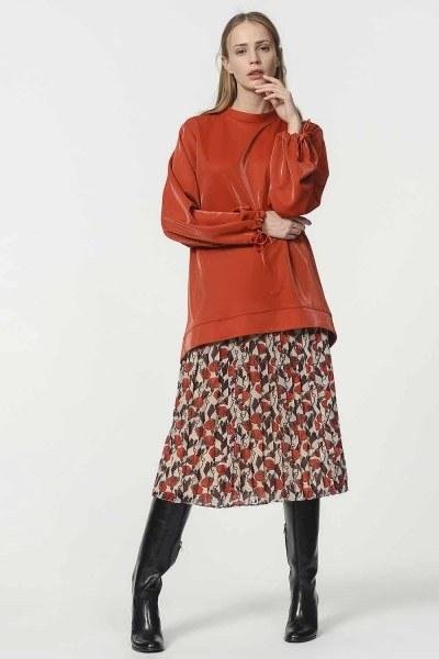 قميص ثقيل مع أكمام دانتيل مفصلة (أحمر كلاريت) - Thumbnail