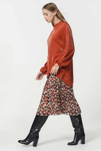 Sweatshirt With Lacing Detailed Sleeves (Claret Red) - Thumbnail
