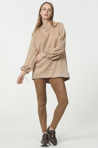 MIZALLE - قميص ثقيل مع أكمام دانتيل مفصلة (ذهبي) (1)