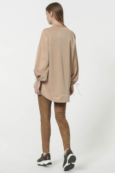 Sweatshirt With Lacing Detailed Sleeves (Gold) - Thumbnail