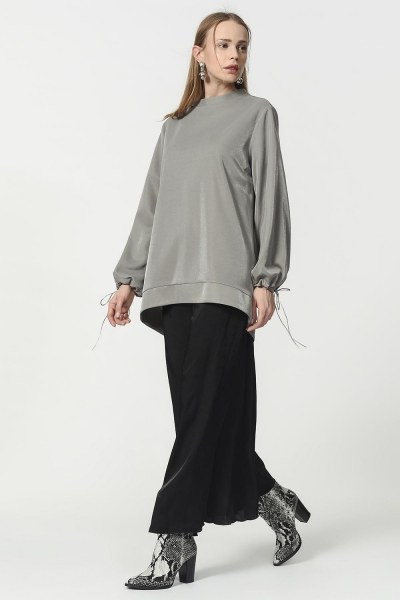 Kolu Bağcıklı Sweatshirt (Gri) - Thumbnail